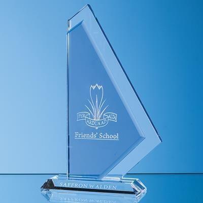 Picture of 25CM CLEAR TRANSPARENT & COBALT BLUE OPTICAL CRYSTAL GLACIER AWARD
