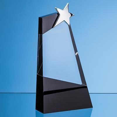 Picture of 26CM CLEAR TRANSPARENT & ONYX BLACK OPTICAL CRYSTAL SLOPE AWARD with Silver Star