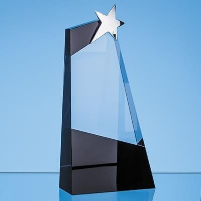Picture of 28CM CLEAR TRANSPARENT & ONYX BLACK OPTICAL CRYSTAL SLOPE AWARD with Silver Star
