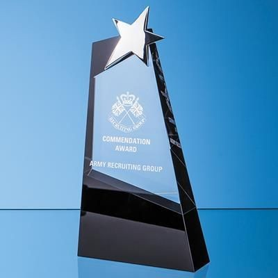 Picture of 31CM CLEAR TRANSPARENT & ONYX BLACK OPTICAL CRYSTAL SLOPE AWARD with Silver Star