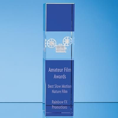 Picture of 28CM CLEAR TRANSPARENT & COBALT BLUE OPTICAL CRYSTAL SQUARE COLUMN AWARD