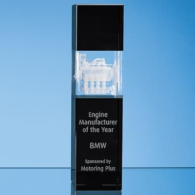 Picture of 26CM CLEAR TRANSPARENT & ONYX BLACK OPTICAL CRYSTAL SQUARE COLUMN AWARD