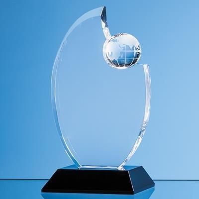 Picture of OPTICAL CRYSTAL GLOBE AWARD Mounted on an Onyx Black Base