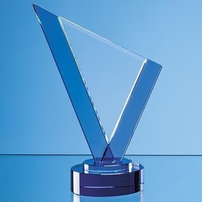 Picture of 20CM CLEAR TRANSPARENT & COBALT BLUE OPTICAL CRYSTAL PEAK AWARD