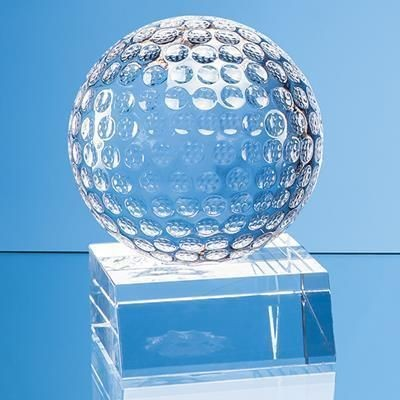 Picture of OPTICAL CRYSTAL GOLF BALL MOUNTED ON a CLEAR TRANSPARENT CRYSTAL BASE