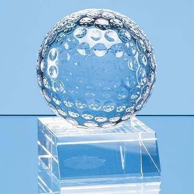 Picture of 6CM OPTICAL CRYSTAL GOLF BALL MOUNTED ON a CLEAR TRANSPARENT CRYSTAL BASE