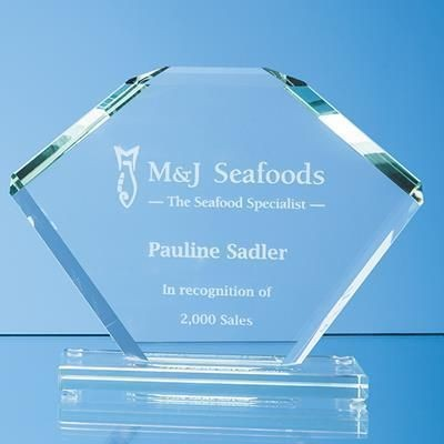 Picture of 18X25CM JADE GLASS BEVELLED EDGE CLIPPED SQUARE AWARD