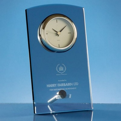 Picture of 20CM SMOKED GLASS RECTANGULAR DESK CLOCK