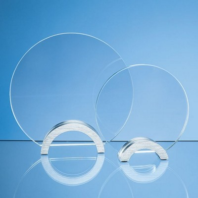 Picture of 14CM x 10MM CLEAR TRANSPARENT GLASS CIRCLE MOUNTED ON AN ALUMINIUM METAL BASE