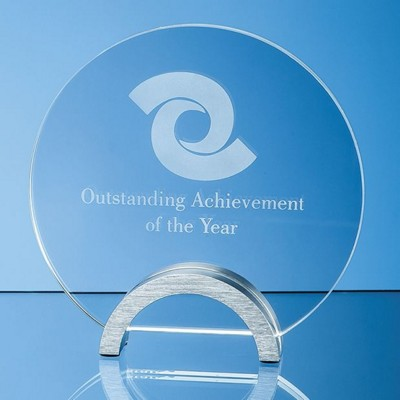 Picture of CLEAR TRANSPARENT GLASS CIRCLE AWARD MOUNTED ON ALUMINIUM METAL BASE