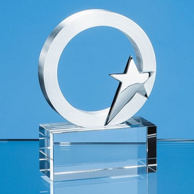Picture of SILVER STAR & CIRCLE ON OPTICAL CRYSTAL BASE