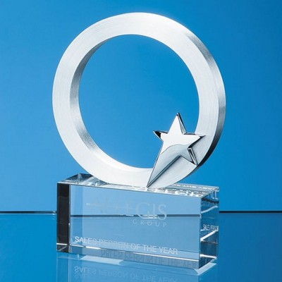 Picture of 10CM SILVER STAR & CIRCLE ON AN OPTICAL CRYSTAL BASE