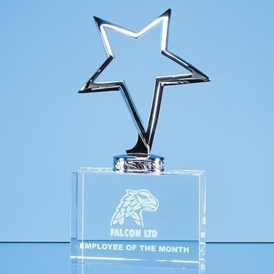 Picture of 17CM SILVER STAR MOUNTED ON OPTICAL CRYSTAL BASE