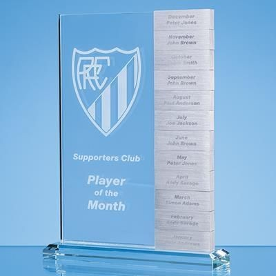Picture of 24X17CM CLEAR TRANSPARENT GLASS MONTHLY RECTANGULAR AWARD with 12x Winners Plaque