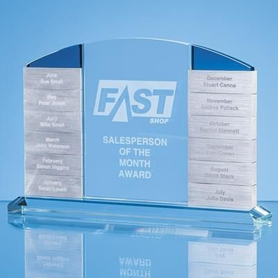Picture of CLEAR TRANSPARENT GLASS MONTHLY RECTANGULAR AWARD WITH 12 x WINNERS PLAQUES