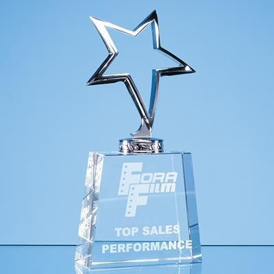 Picture of 19CM SILVER STAR AWARD, MOUNTED ON OPTICAL CRYSTAL TAPERED BASE