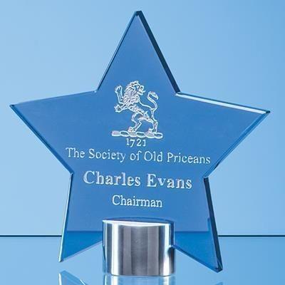 Picture of 14CM COBALT BLUE GLASS STAR AWARD