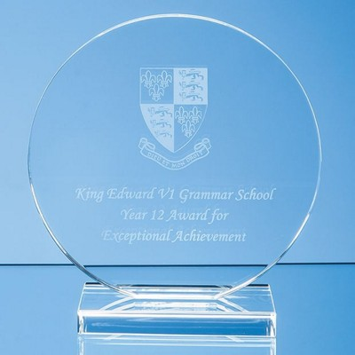 Picture of 15CM x 12MM CLEAR TRANSPARENT GLASS CIRCLE AWARD