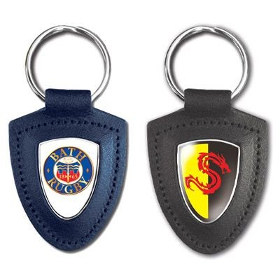Picture of TEMPLAR SHIELD SHAPE GENUINE LEATHER KEYRING