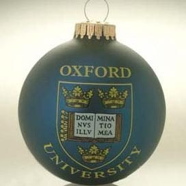 Picture of GLASS PROMOTIONAL BAUBLE in Blue with Full Colour Logo