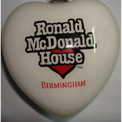 Picture of HAND PAINTED HEART SHAPE GLASS BAUBLE