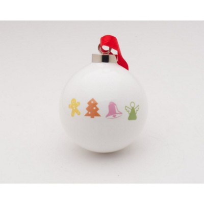 Picture of PROMOTIONAL PORCELAIN BAUBLE in White Bauble with Full Colour Logo Print