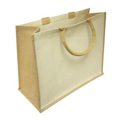 Picture of BEECH WOOD LARGE LAMINATED JUTE SHOPPER TOTE BAG with White Front Panels
