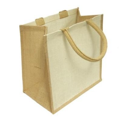 Picture of PINE SMALL LAMINATED JUTE SHOPPER TOTE BAG with White Front Panels