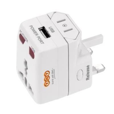 Picture of ONE WORLD TRAVEL PLUG ADAPTOR with USB in White