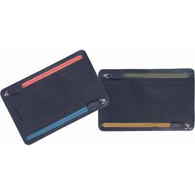 Picture of GRAINED LEATHER MULTI CURRENCY TRAVEL WALLET in Blue