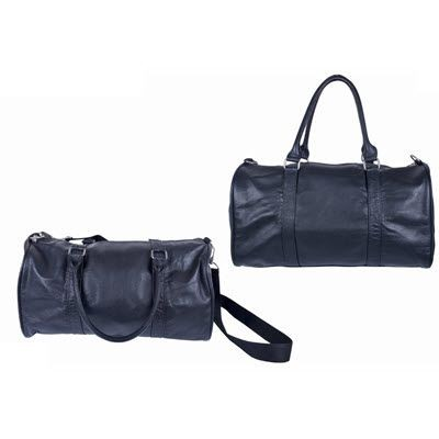 Picture of NATURAL GRAINED LEATHER DUFFLE BAG in Black