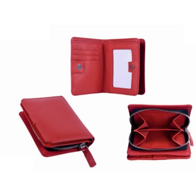 Picture of GRAINED LEATHER COMPACT LADIES WALLET in Red