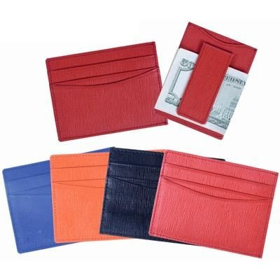 Picture of TEXTURED LEATHER CREDIT CARD HOLDER with Magnetic Money Clip