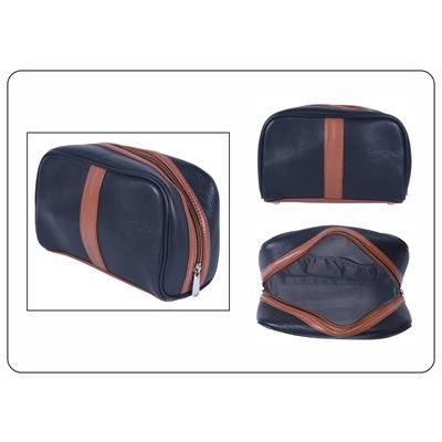 Picture of GRAINED LEATHER TOILETRY POUCH in Black