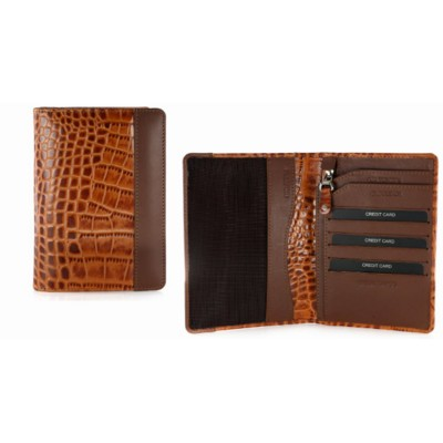 Picture of CROCO PRINT PASSPORT WALLET in Tan