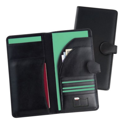 Picture of MALVERN GENUINE LEATHER TRAVEL WALLET in Black