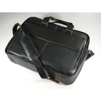 Picture of MELBOURNE NAPPA LEATHER LAPTOP BAG in Black with Tan Trim