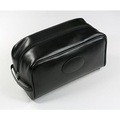 Picture of MALVERN GENUINE LEATHER TOILETRY WASH BAG in Black