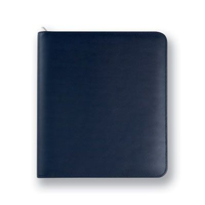 Picture of MALVERN GENUINE LEATHER A4 ZIP RING BINDER FOLDER in Navy Blue