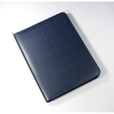 Picture of MALVERN GENUINE LEATHER A4 ZIP FOLDER in Navy Blue
