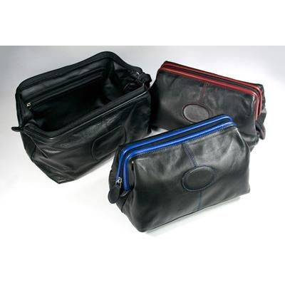 Picture of MELBOURNE NAPPA LEATHER TRAVEL TOILETRY WASH BAG in Black