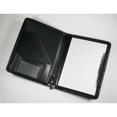 Picture of WARWICK GENUINE LEATHER A5 ZIP FOLDER in Black