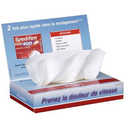 Picture of TISSUE CLASSIC 50 PLUS BOX with Folding Up Advertising Lid