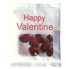 Picture of VALENTINES HEART SHAPE HARIBO JELLY SWEETS BAG in Clear Transparent & White
