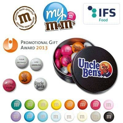 Picture of ROUND METAL TIN OF BRANDED M&M SWEETS