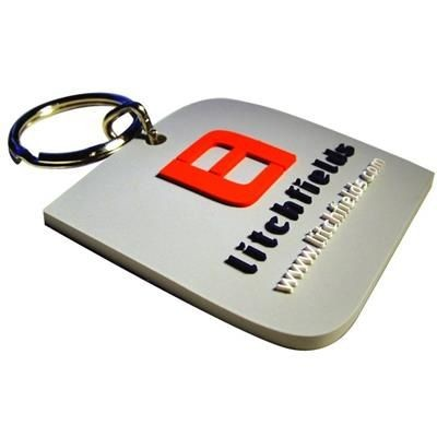 Picture of SOFT PVC KEYRING in Stepped 2d Soft PVC