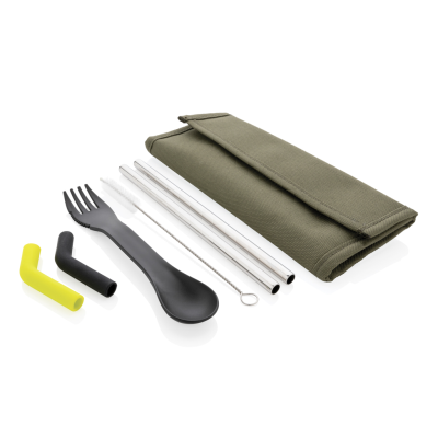 Picture of TIERRA 2PCS STRAW AND CUTLERY SET in Pouch in Green