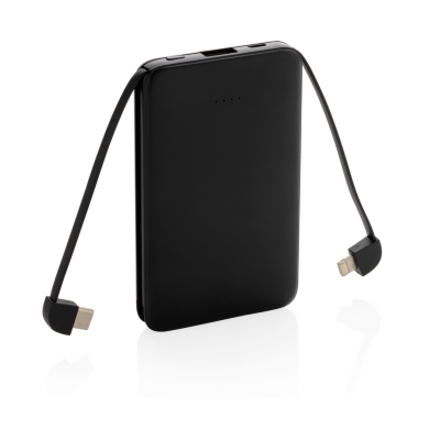 Picture of 5,000 Mah POCKET POWERBANK with Integrated Cables in Black