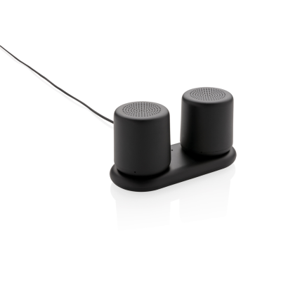 Picture of INDUCTION CHARGER DOUBLE SPEAKER SET in Black