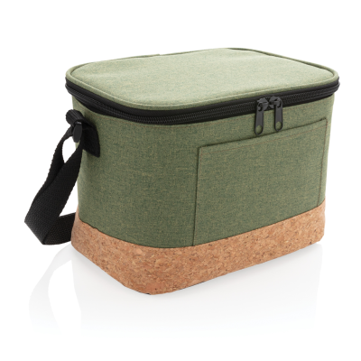 Picture of TWO TONE COOL BAG with Cork Detail in Green